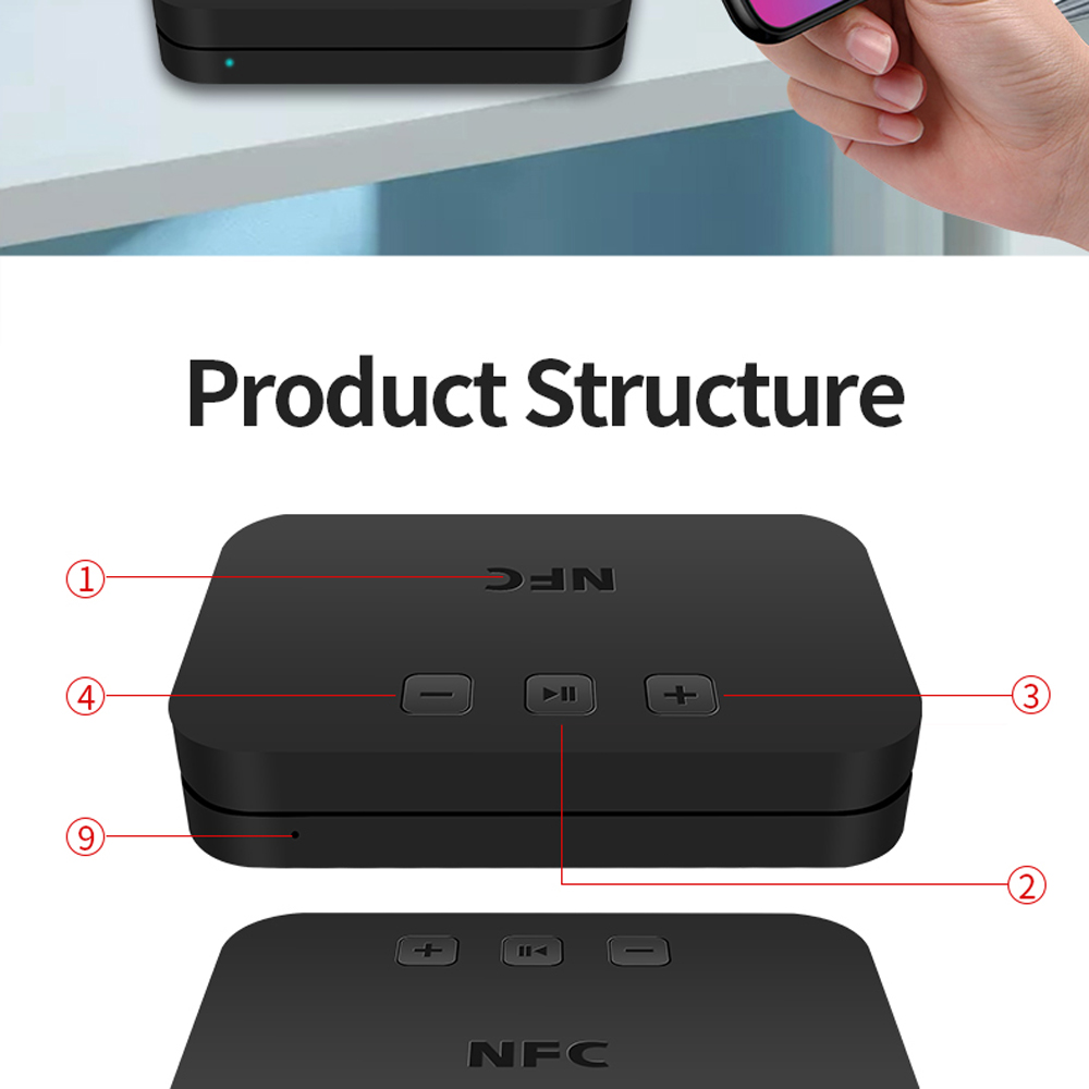 TI-800 NFC Wireless Bluetooth 5.0 Receiver Adapter - Black