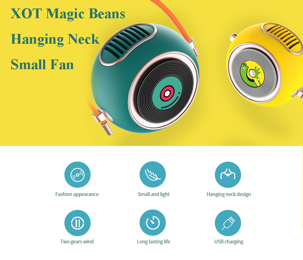 X01 Magic Beans Hanging Neck Small Fan Student Mini USB Electric Fan Hand Holding Portable Charging Cute Playful Cooler - Yellow