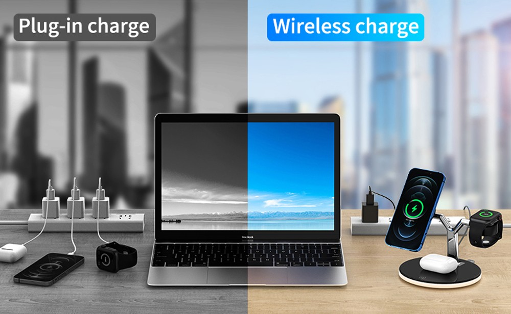 3-in-1 Y-shaped Magnetic Wireless Charger - Black