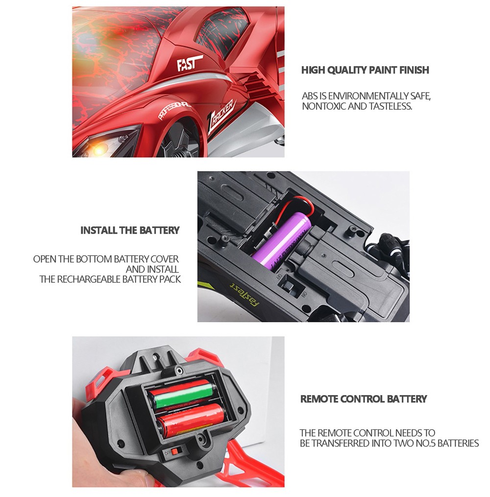 Rapid Drift Racing Car Children Cool Light 2.4G Remote Control Charging Four-wheel Drive Car Toy - Red