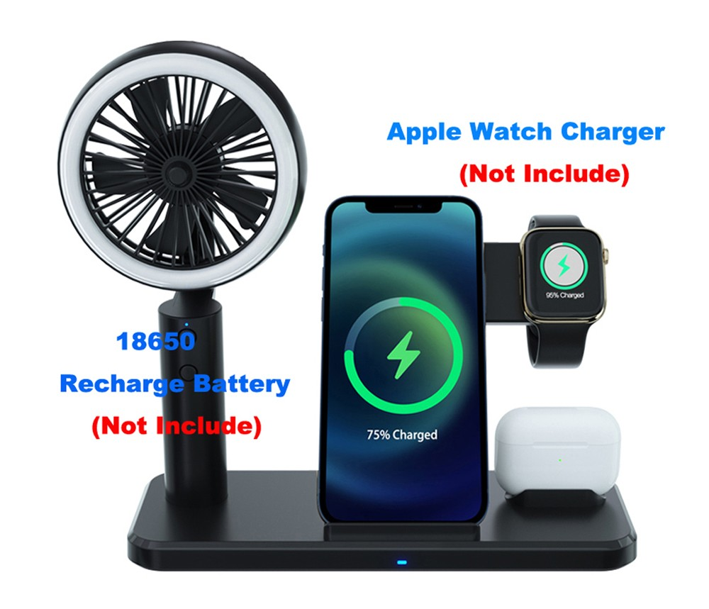 15W Mobile Phone Wireless Charger with Fan - Black