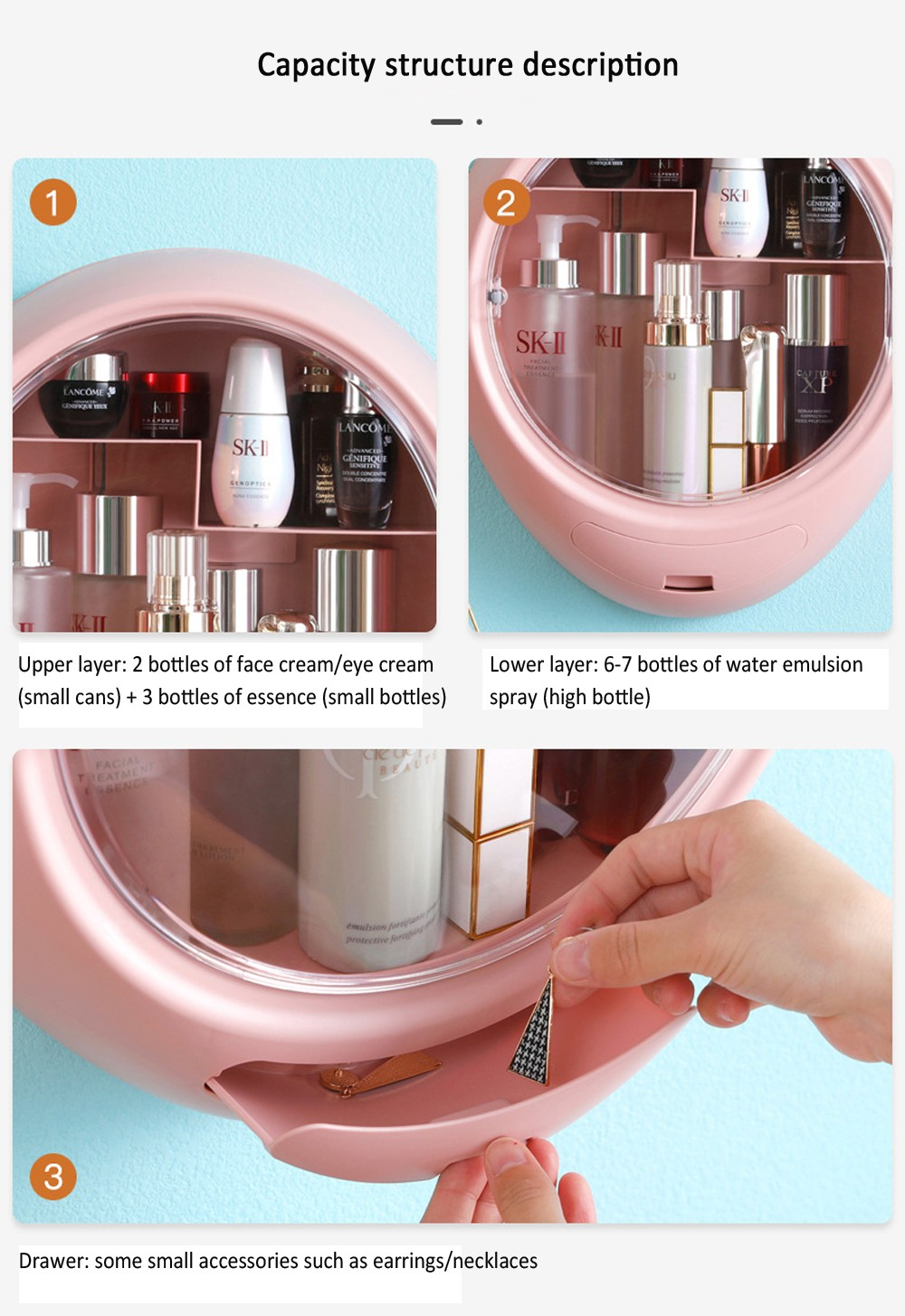 Wall-mounted Cosmetics Storage Box Punch-free Dust-proof Bathroom Skin Care Products Wall Rack - Pink