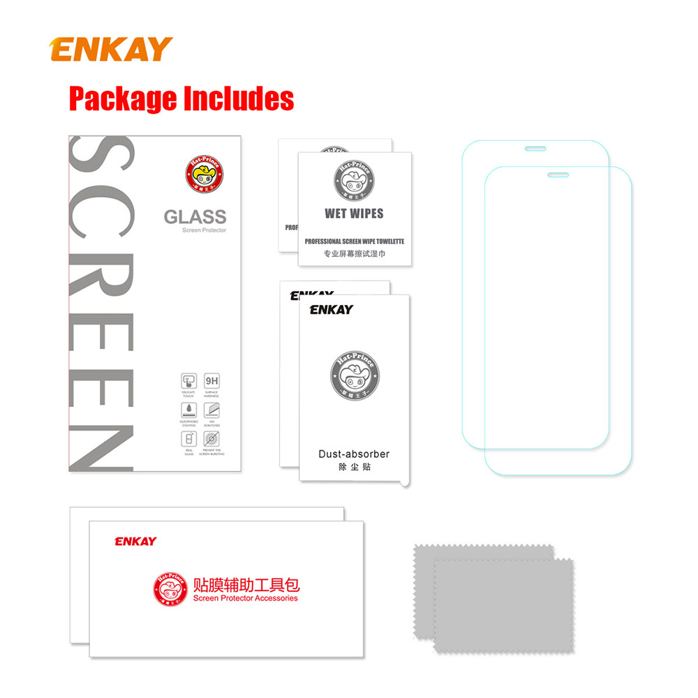 ENKAY Hat-Prince Screen Protector for iPhone 12/12 Pro 6.1 inch 2PCS - Transparent