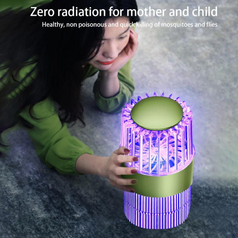 Silent Suction Tempering Mosquito Killer Trap Home Bedroom Rechargeable Purple Electronic Mosquito Killer Lamp - Green