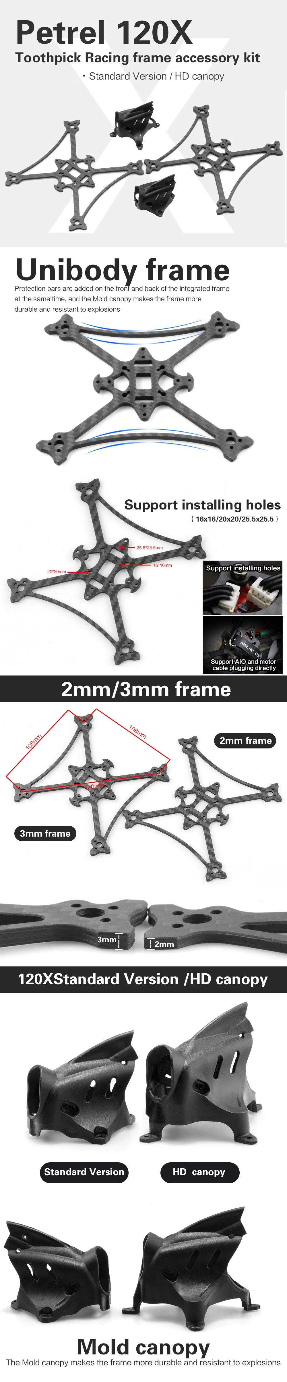HGLRC Petrel 120X 3 Inches Toothpick FPV Racing Frame 2mm Bottom Plate Frame Kit - Black