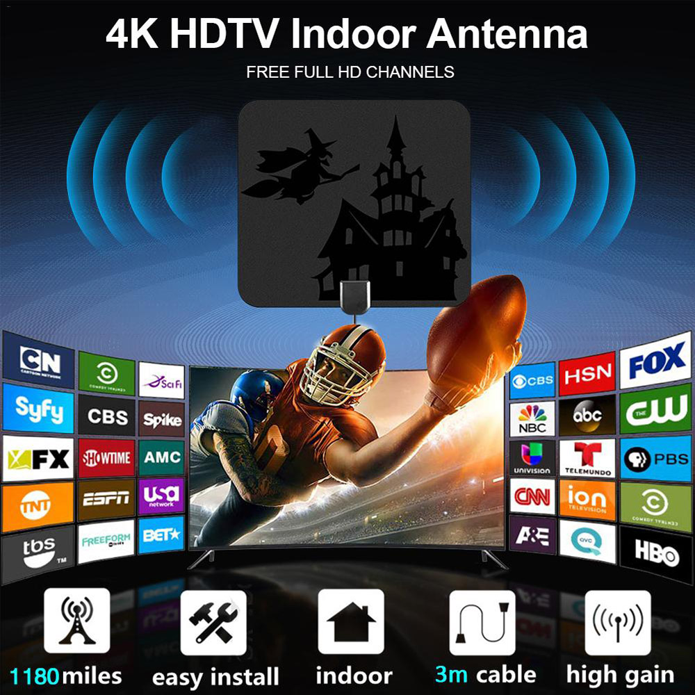 1180 Miles Indoor Outdoor HD Digital TV HDTV Antenna - Black