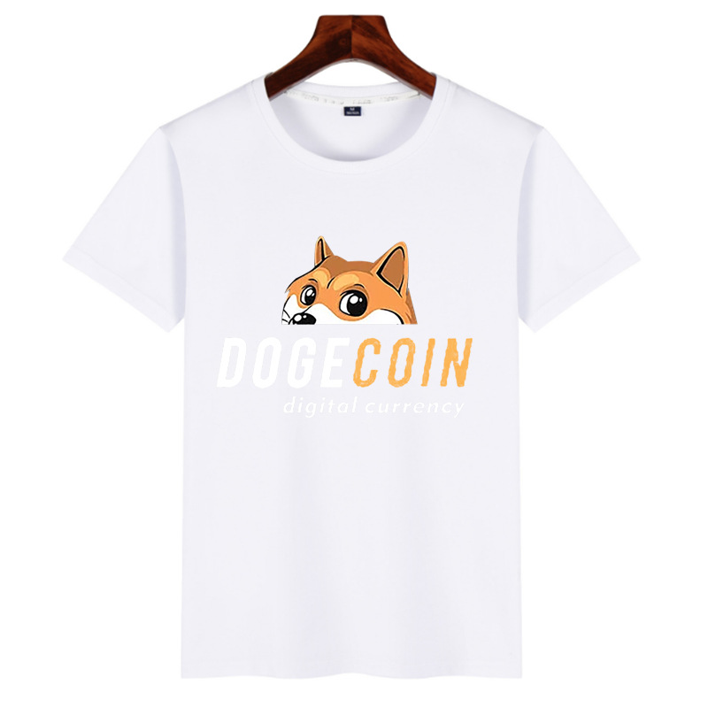 Men Fashion Simple Print Personality Trend Round Neck Dogecoin Short-sleeved T-shirt Digital Currency Tops - Dodger Blue 2XL