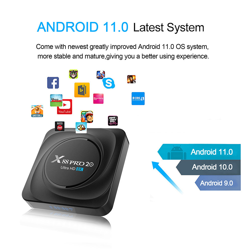 X88 PRO 20 Android 11.0 Smart TV Box - Black 4G+32G  UK plug