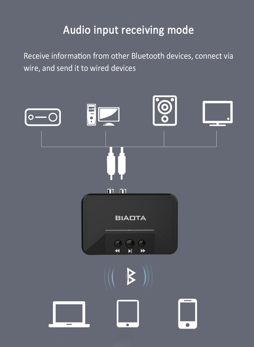 BT300 Bluetooth 5.0 Audio Receiver Wireless Conversion Fiber Optic RCA AUX USB Adapter - Black