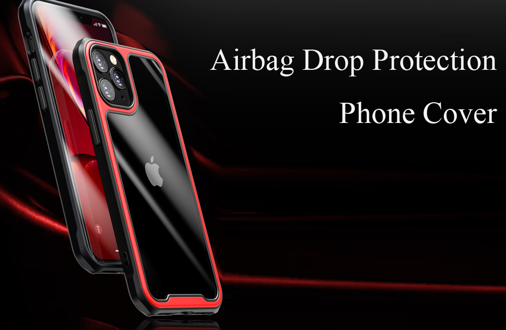 Airbag Drop Protection Cover TPU + PC Transparent Phone Case for iPhone 12 - Red for iPhone 12/12 Pro (6.1 inch)