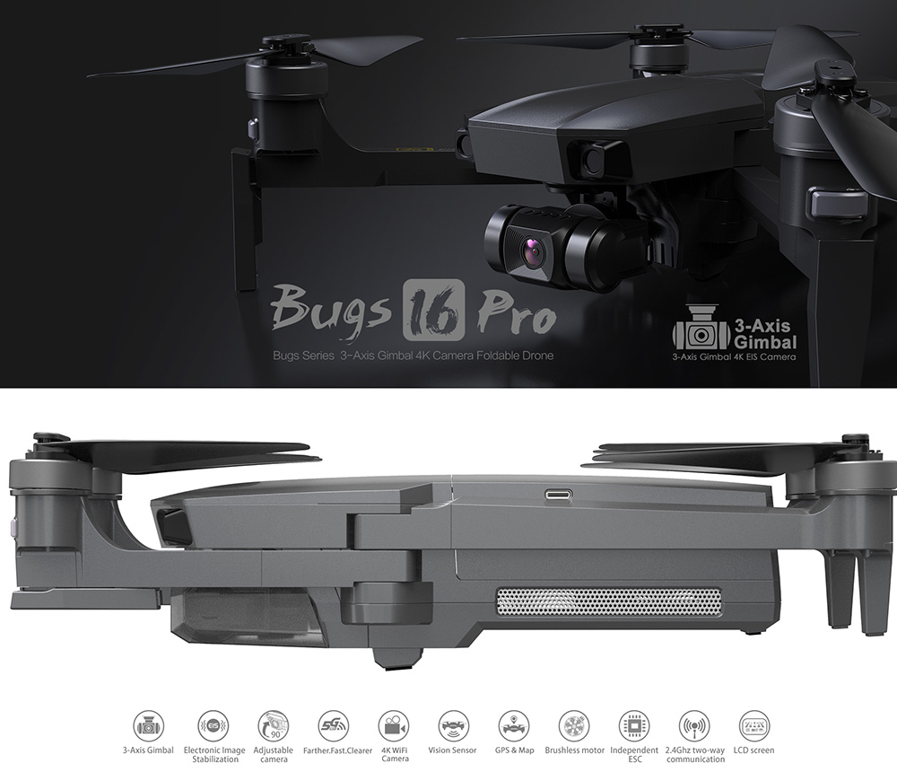 B16 Pro GPS Three-axis Gimbal 4K EIS RC Quadcopter Drone - Gray One Battery