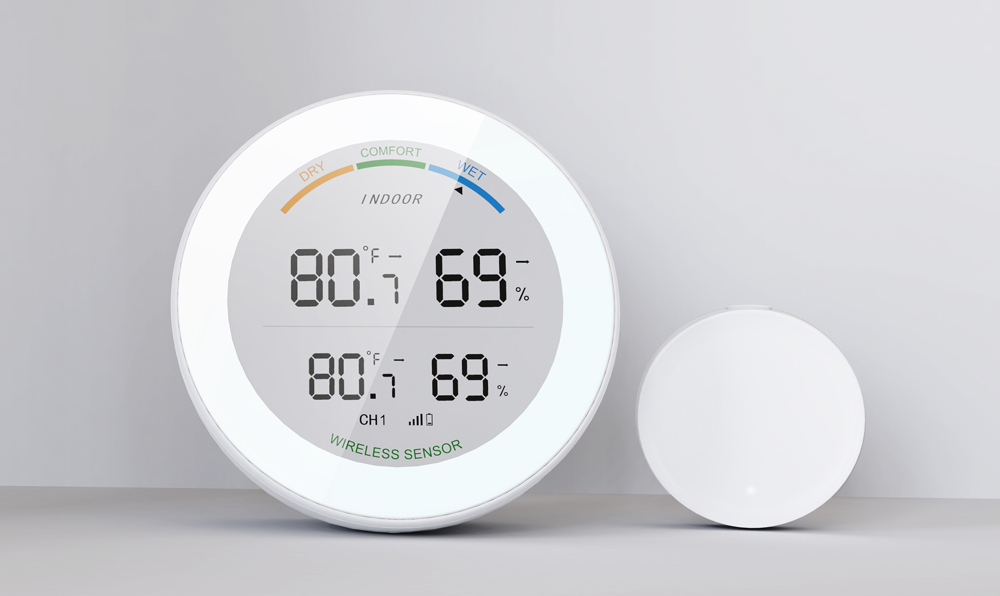 Temperature and Hygrometer High Precision Digital Sensor with White Backlight Display Air Comfort Indicator Supports 3 Sensors - White One for three (host)