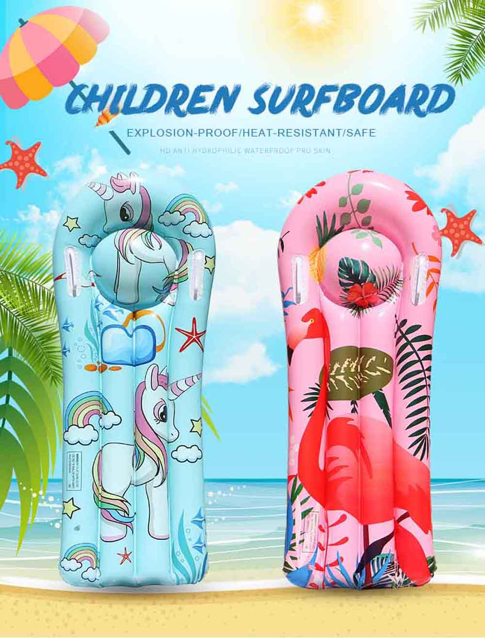 Inflatable Floating Row PVC Buoyancy Board Water Swimming Inflatable Children Surfboard - Tron Blue