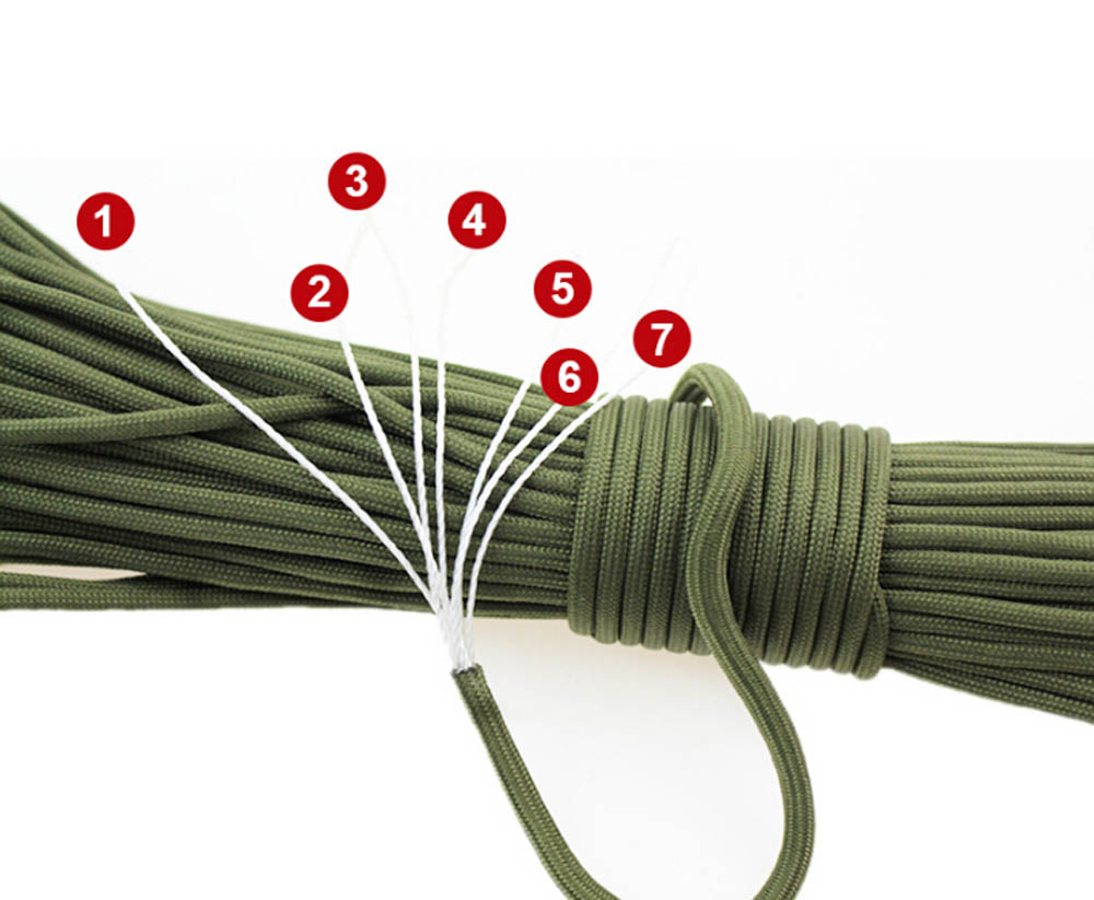 Umbrella Rope Outdoor Adventure Climbing Cord Survival Seven-core Military Regulation String Camping Climbing Braided Hand Strap 31M - Black