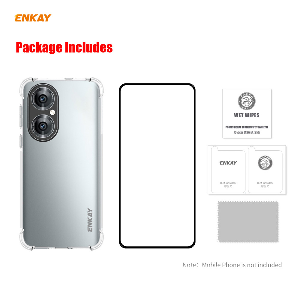 ENKAY Hat-Prince Phone Case + Screen Protector for Huawei P50 - Transparent