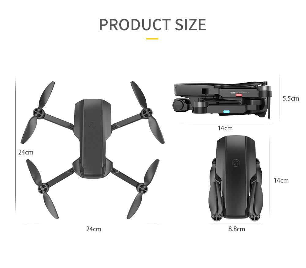HJ188 Folding RC Quadcopter Drone - Gray One Battery