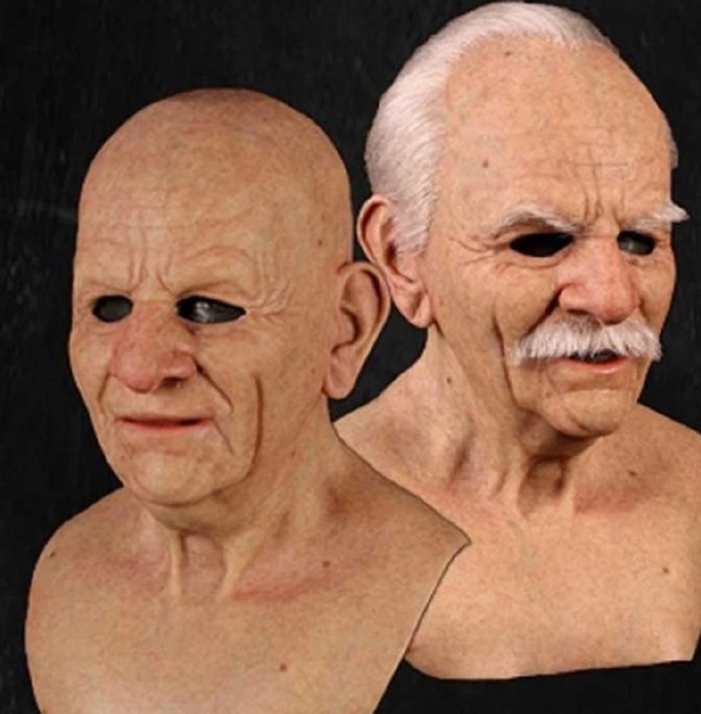 Facial Decoration Product Christmas Cosplay Rubber Old Man Mask Scary Latex Mask Horror Head Decoration Adult Man Woman - Brown Old man B1