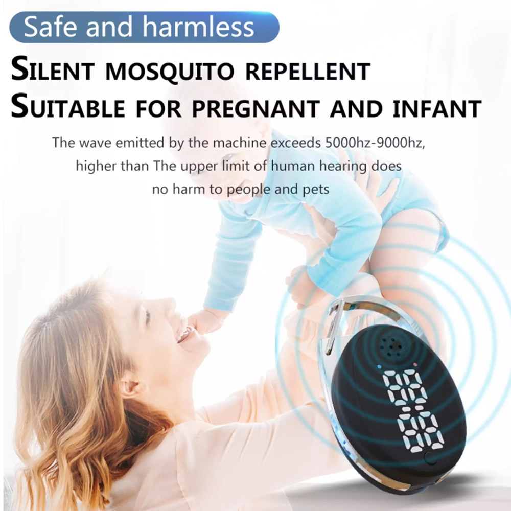 M60 Mosquito Repellent Buckle Outdoor Ultrasonic Electronic Mosquito Repellent - White