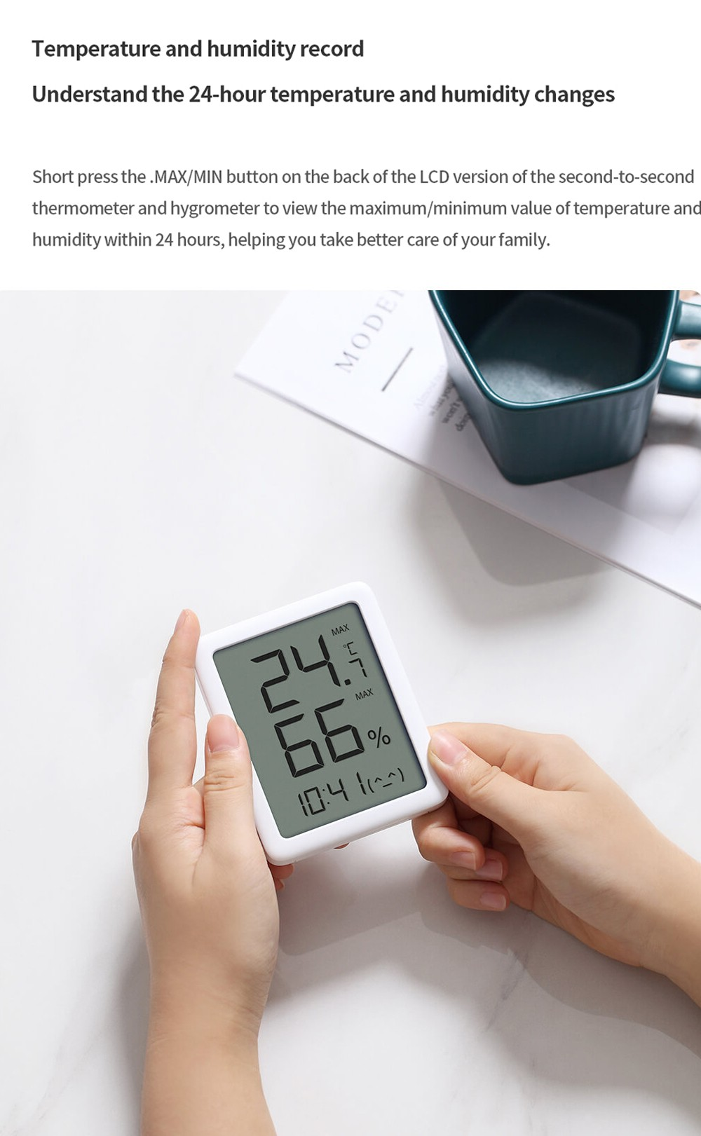 MHO-C601 Thermometer and Hygrometer LCD Edition from Youpin - White