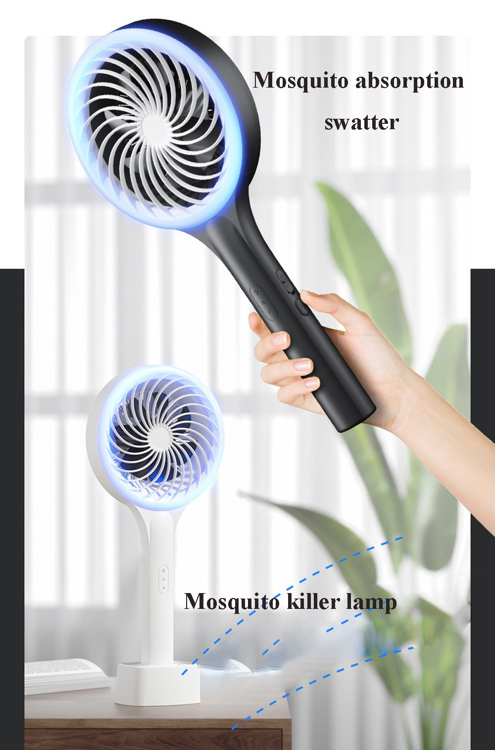 Household Suction Cyclone Mosquito Swatter Vertical Portable Fly Swatter Electric Mosquito Swatter - White