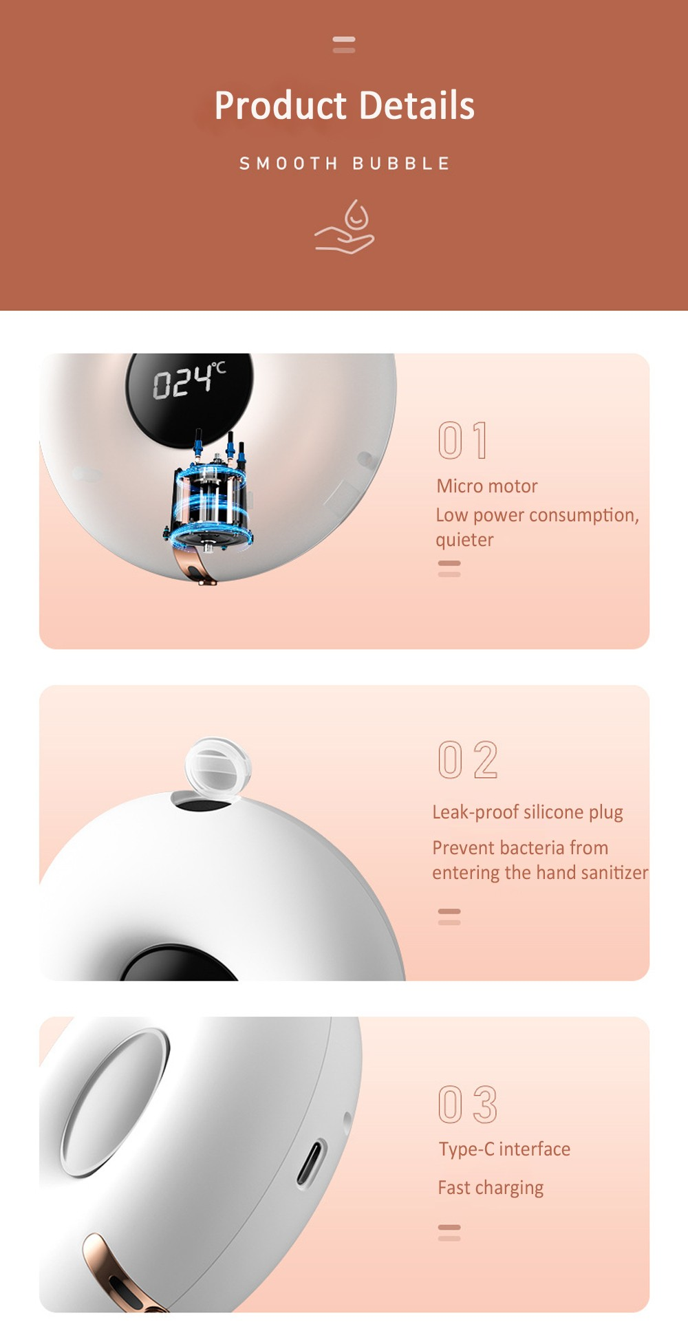 Z04 Wall Mounted Automatic Soap Dispenser Infrared Induction LED Display Temperature Foam Hand Sanitizer Disinfector - White