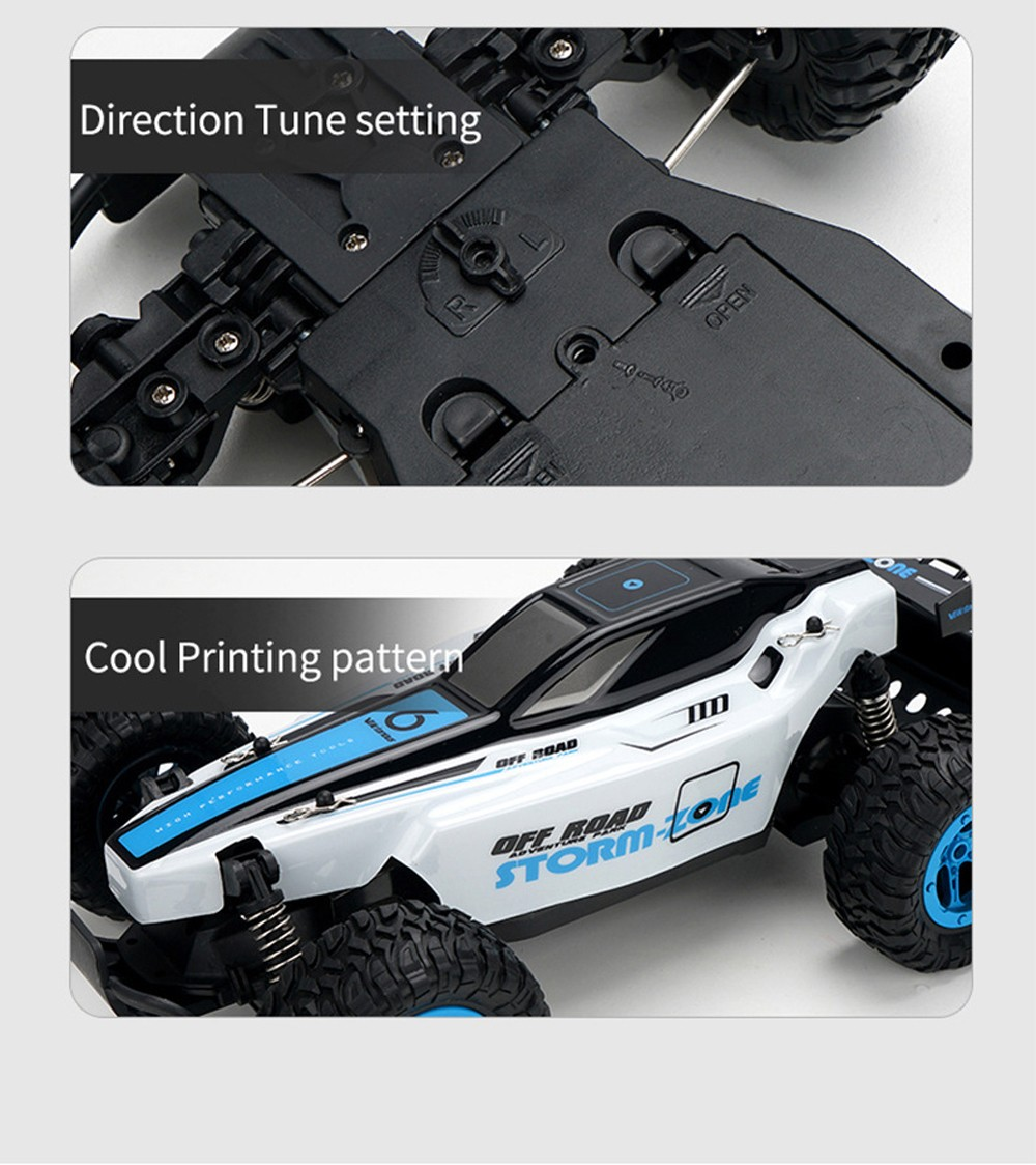 1:14 2.4G Full-Scale RC Racing Car Toy - Crystal Blue One Battery