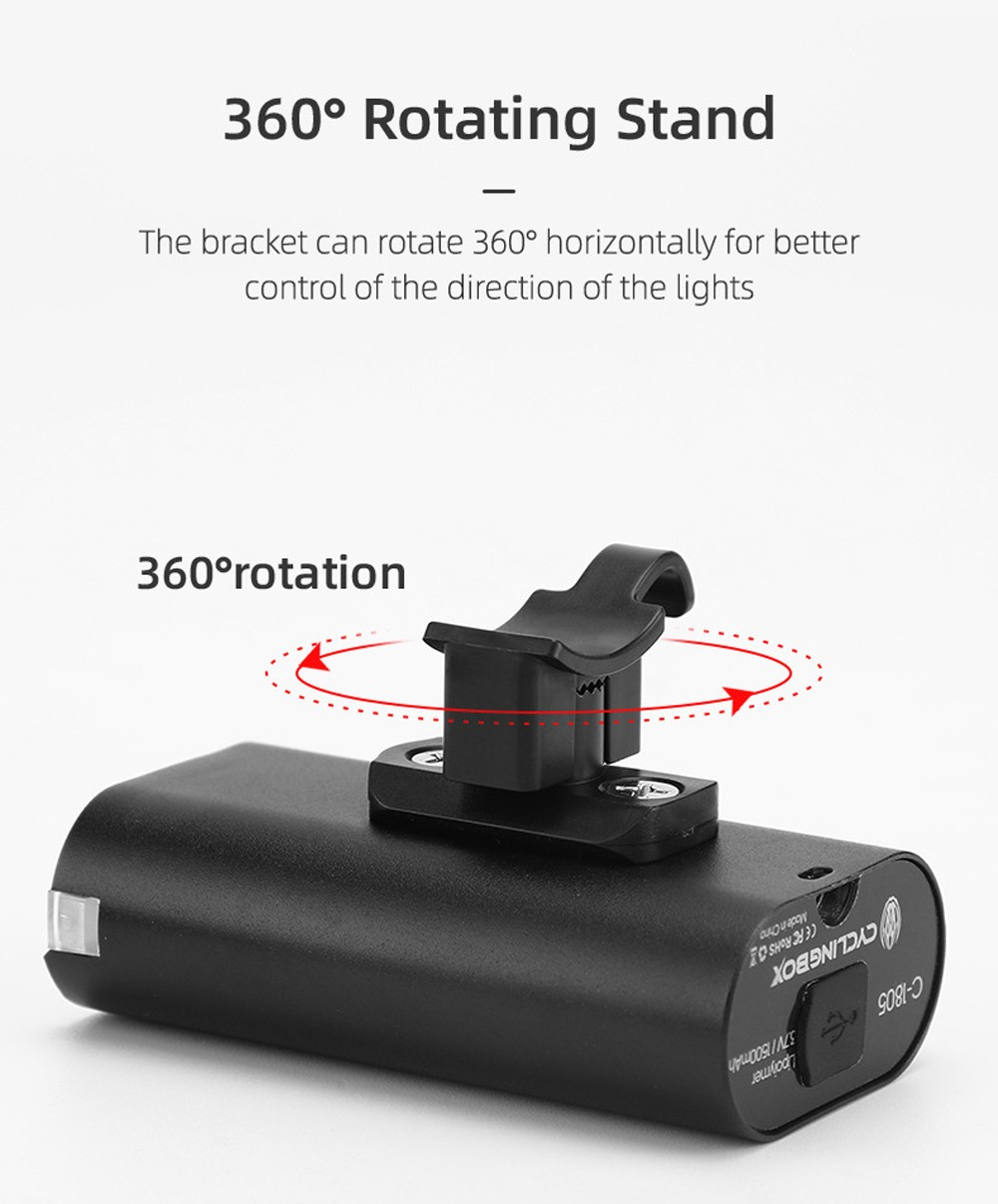 USB Charging Night Riding MTB Bicycle Aluminum Alloy Double-headed Front Light Bike Light with Battery Indicator Riding Equipment - Black