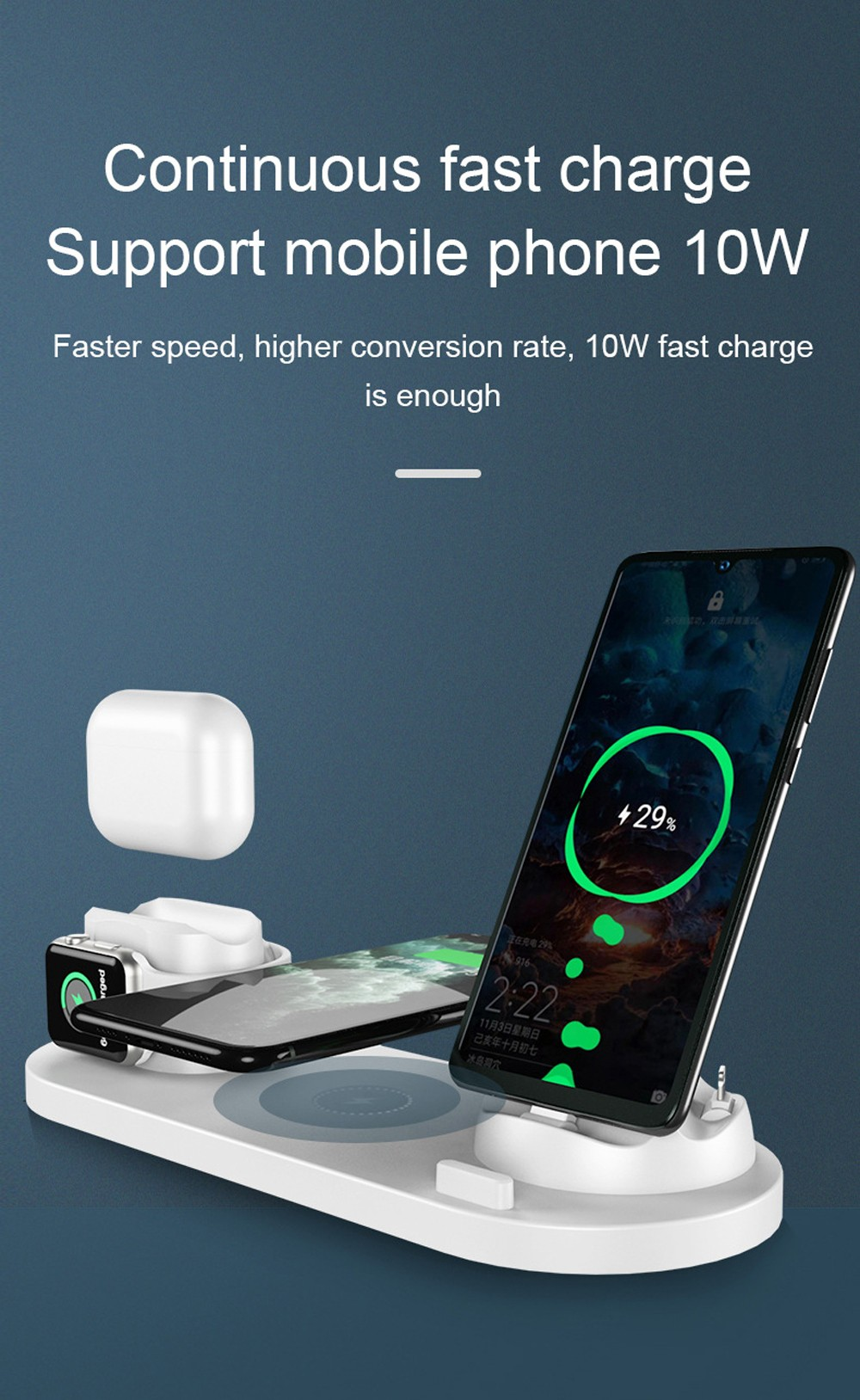 Six-in-one Fast Charging Wireless Charger - Pink