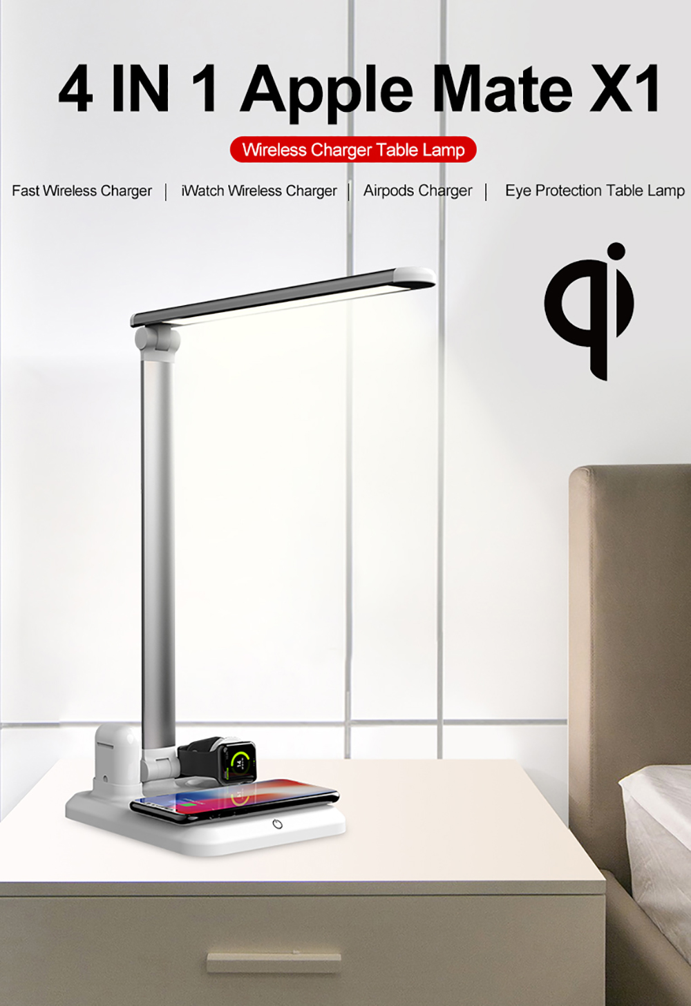 Table Lamp Wireless Charger - White