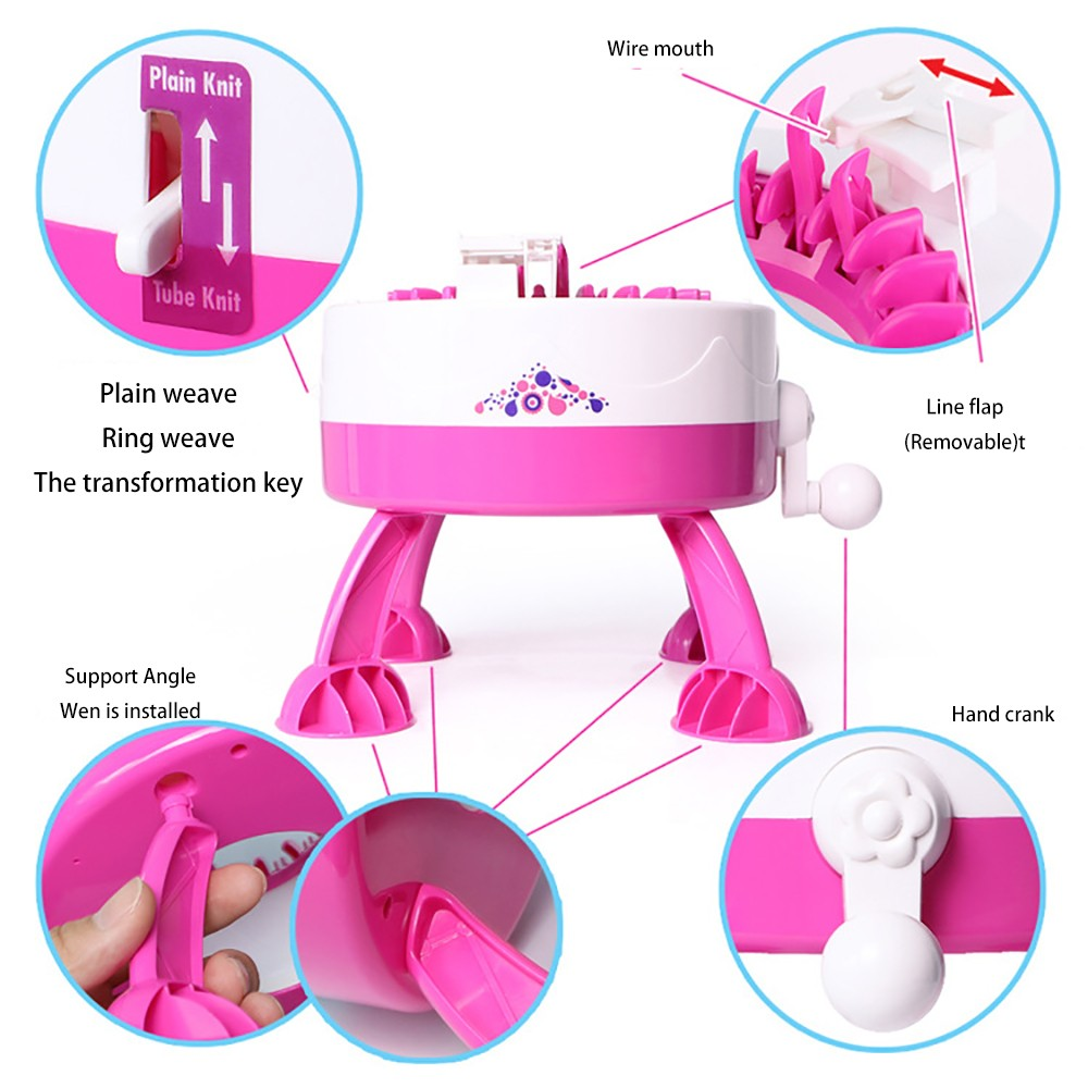 Kids Knitting Machine Toy 22 Needles Positions Mini Furniture Toy Weaving Loom for Dolls Scraf Hat Educational Girls Toy - Deep Pink 689B