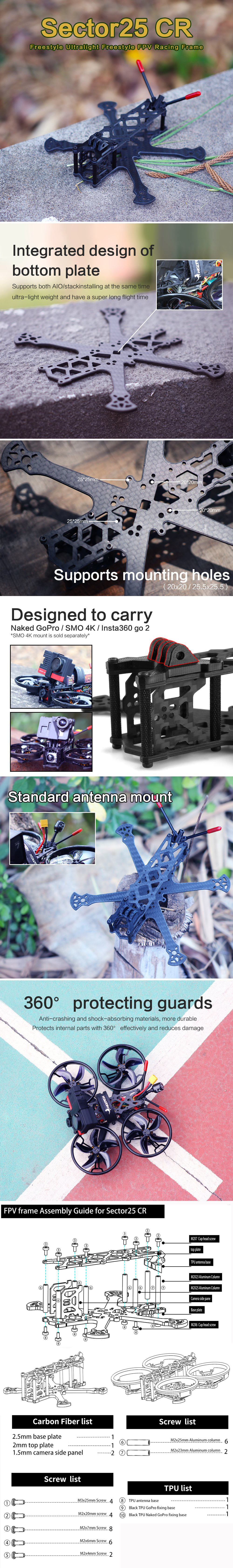 HGLRC Sector25CR 2.5-inch Freestyle FPV Frame Ultralight Racing Drone - Black
