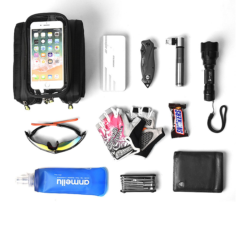 Bicycle Bag Front Tube Beam Bag Touch Screen Saddle Package Cycling Equipment - Black