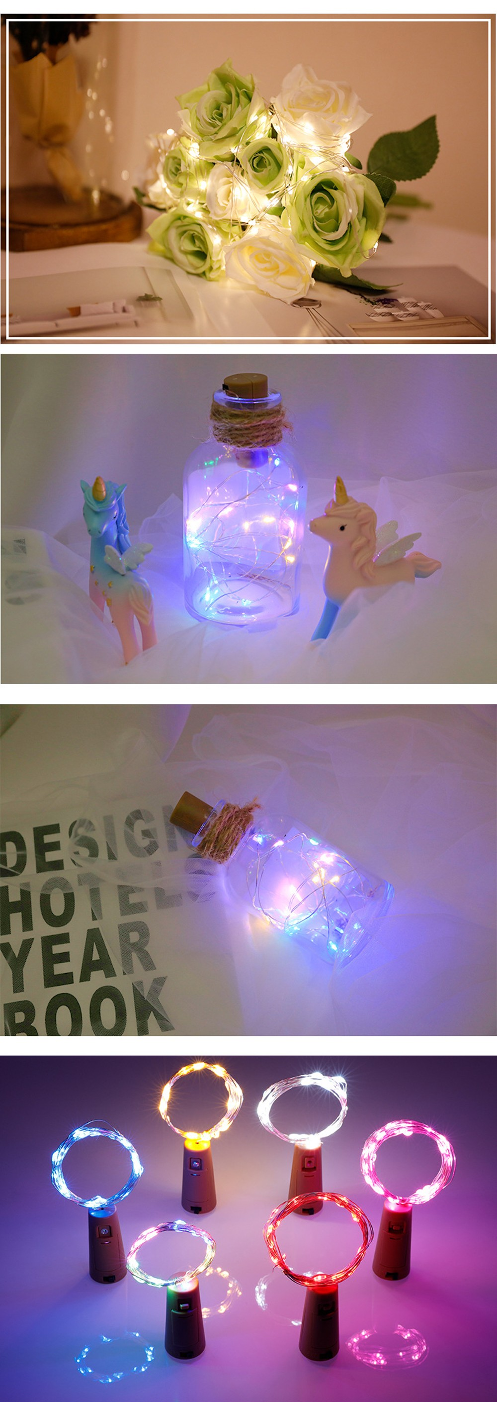 Wine Bottle Stopper LED Decorative String Light Copper Wire Holiday Lighting 2M 20 Lights - Yellow Warm White