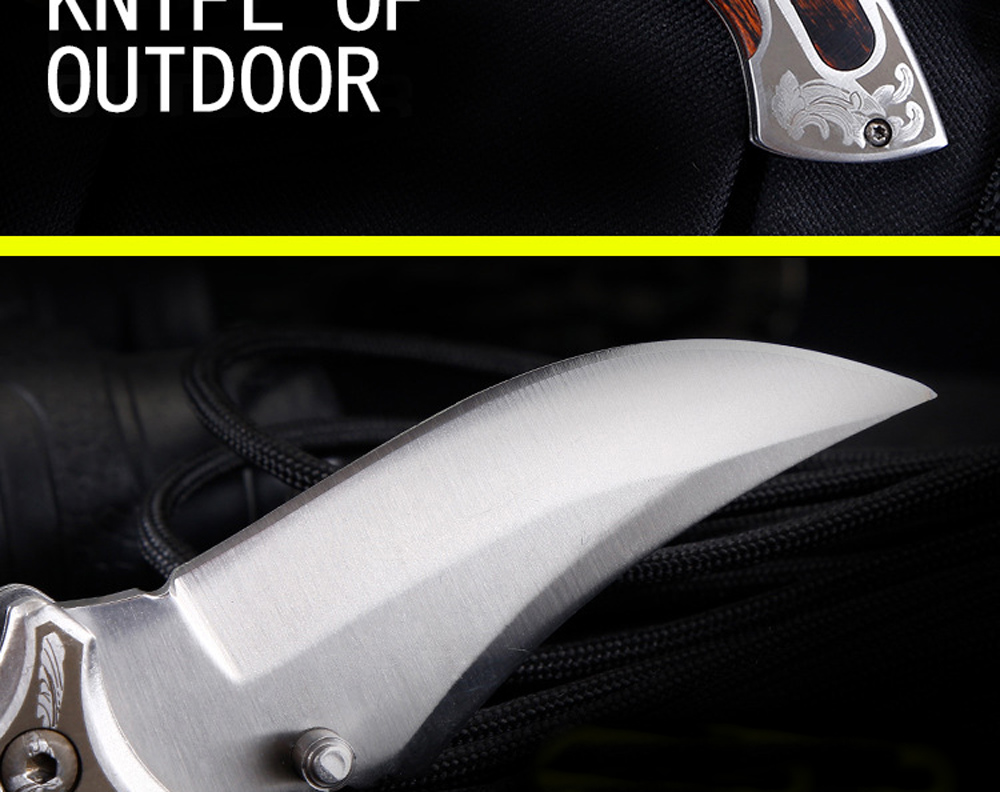 Portable Folding Knife Outdoor Camping Survival Knife High Hardness Multifunction Outdoor Knife - Silver