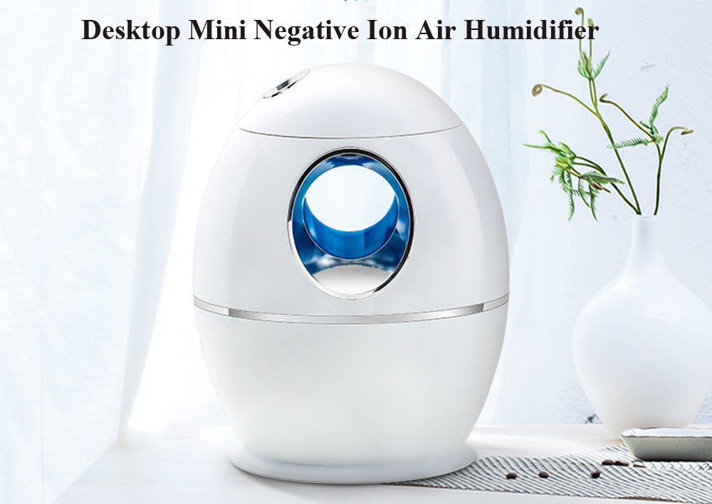 Desktop Mini Negative Ion Air Humidifier Home Office Bedroom Mute USB Aromatherapy Atomizer Large Capacity 800ML - White