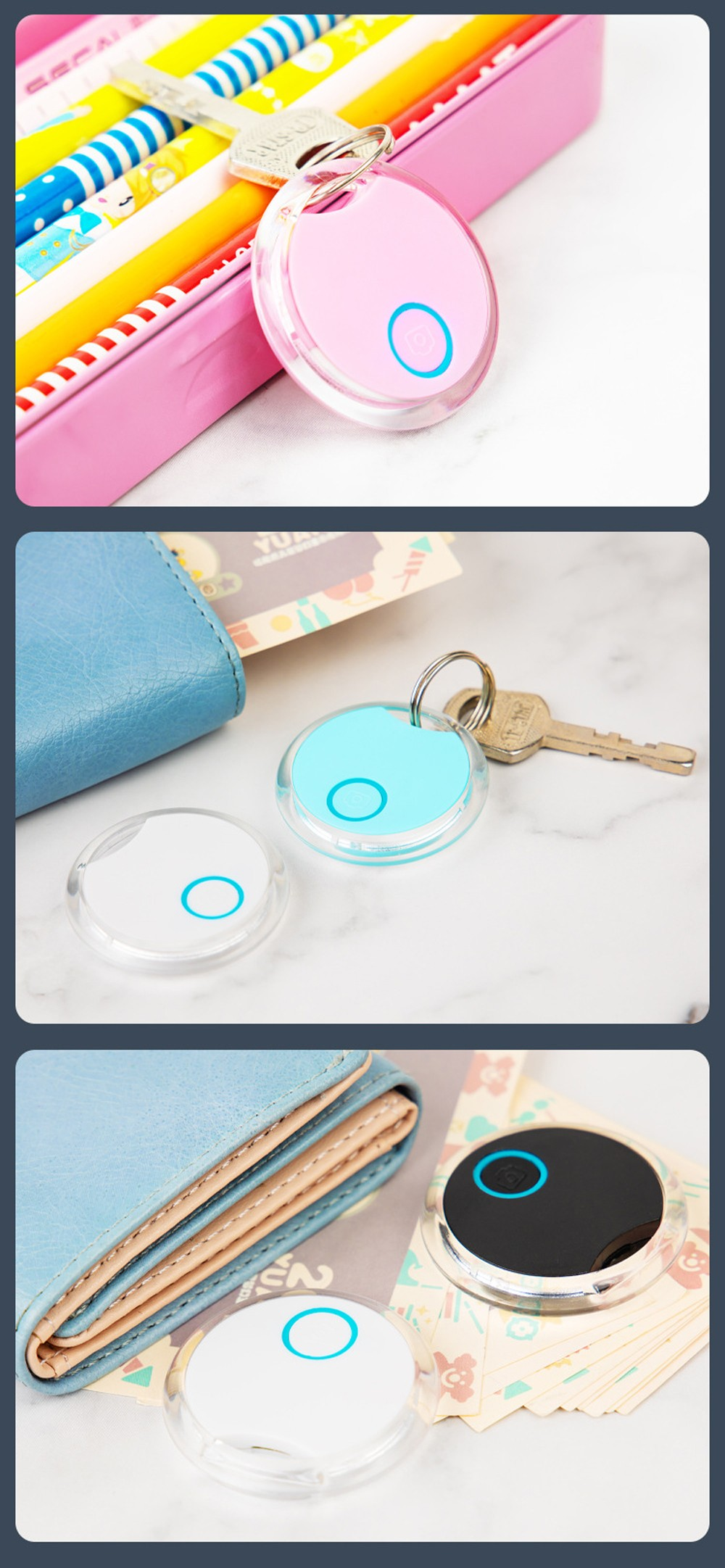 S8 Round Bluetooth Anti-lost Device Key Item Tracker Mobile Phone Finding Object Two-way Alarm Pet Anti-lost Alarm - Day Sky Blue