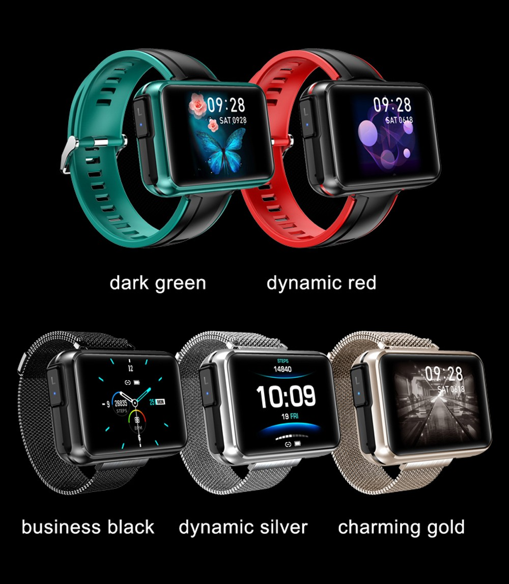 LEMFO T91 Smart Watch with TWS Earbuds - Red