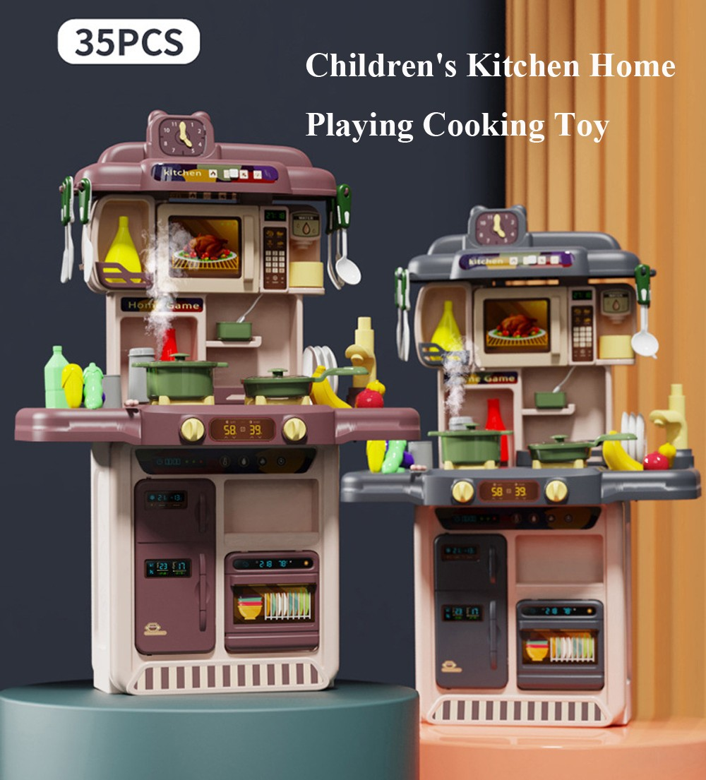 Children's Kitchen Home Playing Cooking Toy Set - Gray Without induction spray