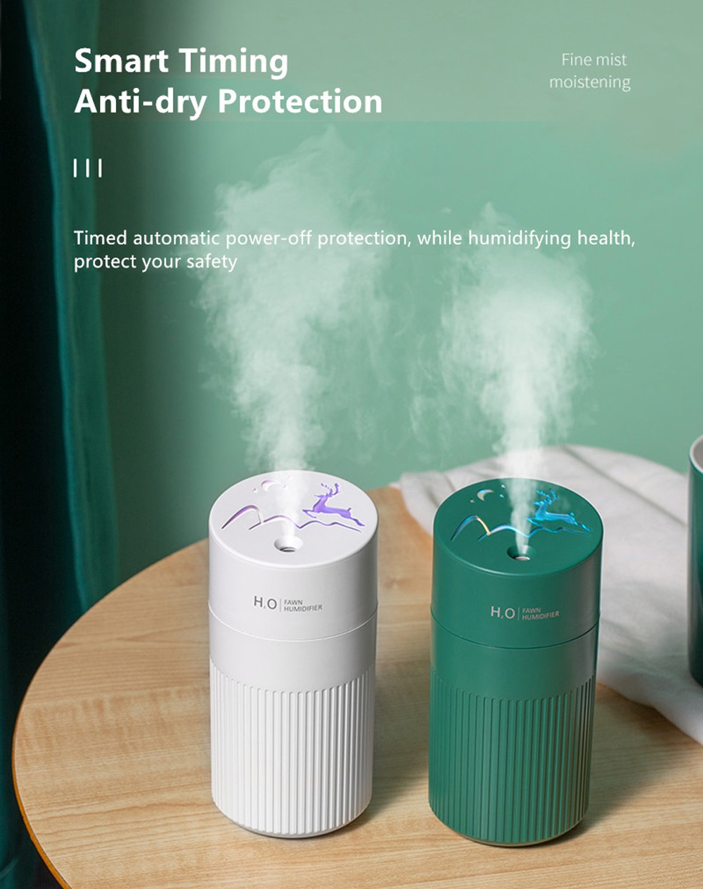 DLS-FA66 Fawn Humidifier Two-speed Spray USB Charging Long Battery Life 420ML - Sea Green