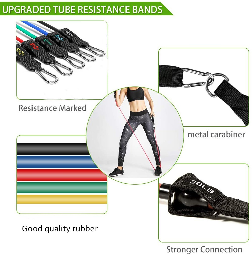 100/150 lbs Resistance Band TPE Latex Home Training Elastic Rope Fitness Yoga Pull Strap - Multi-A 100 pounds of zinc alloy 12 pieces/set