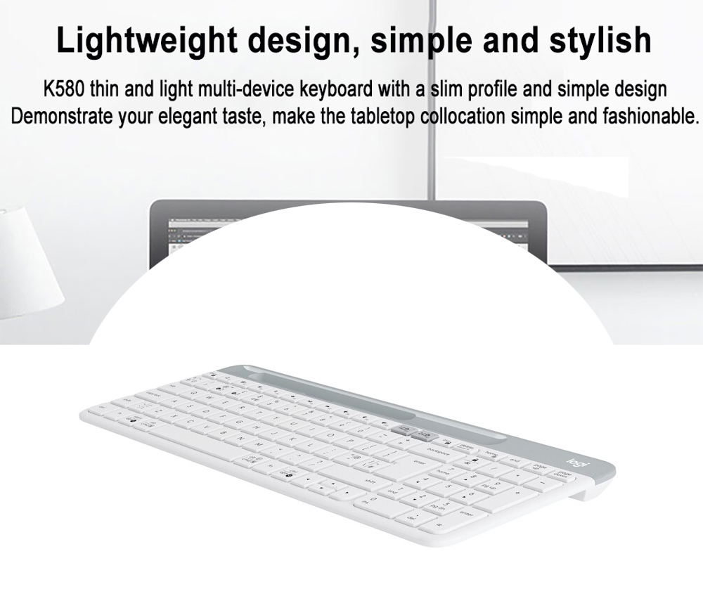 Logitech K580 Lightweight Multi-device Wireless Keyboard Lightweight Compact and Silent for Computer Phone Tablet - White