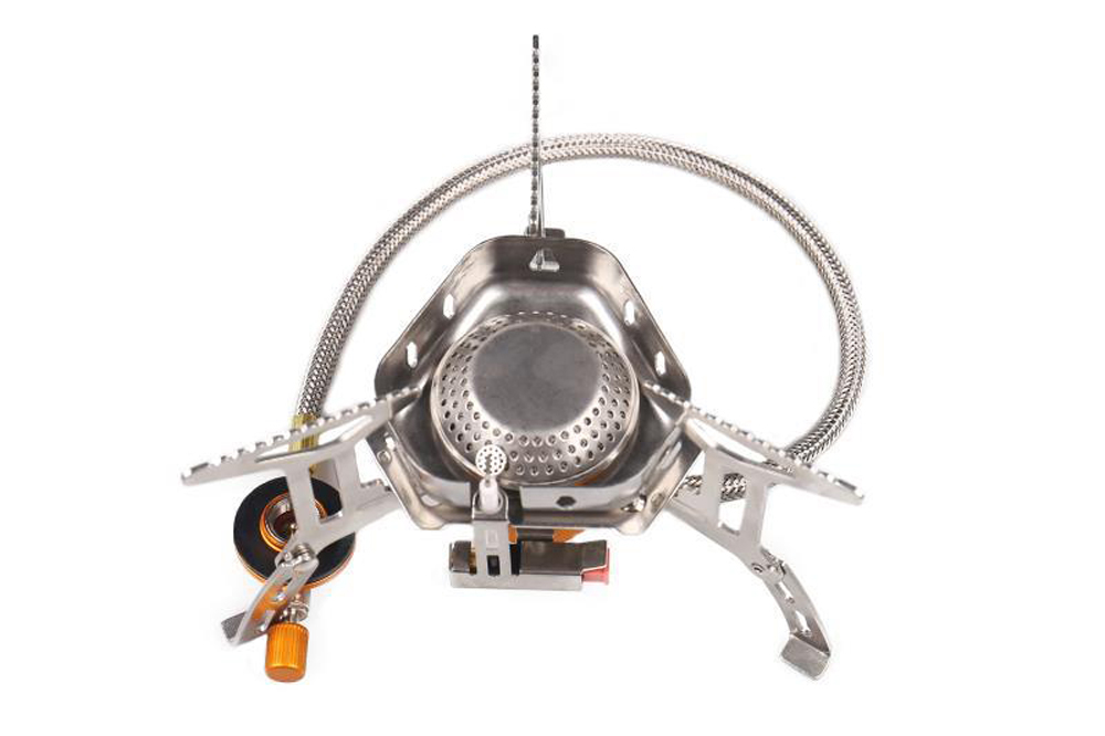Outdoor Cooking Stove Portable Stainless Steel Camping Gas Stove Windproof Picnic Burner - Silver