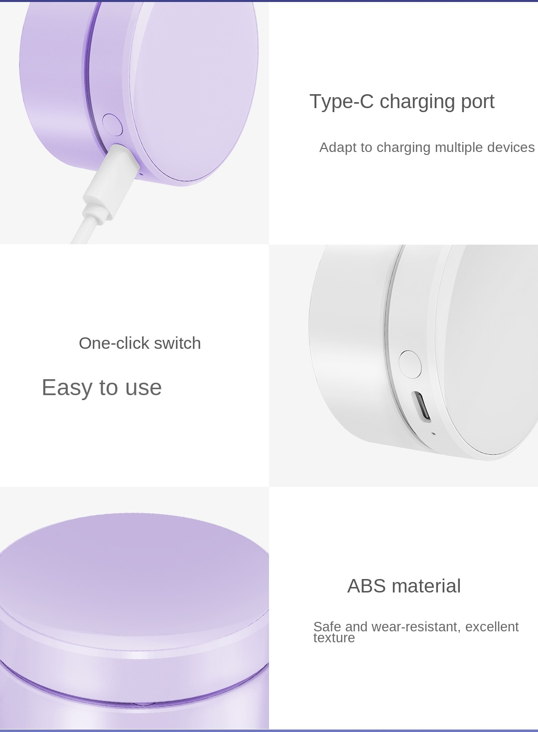 Hanging Neck Folding Electronic Fan Chargeable Non-leaf Portable Sports Outdoor Mini Creative USB Fan - Purple