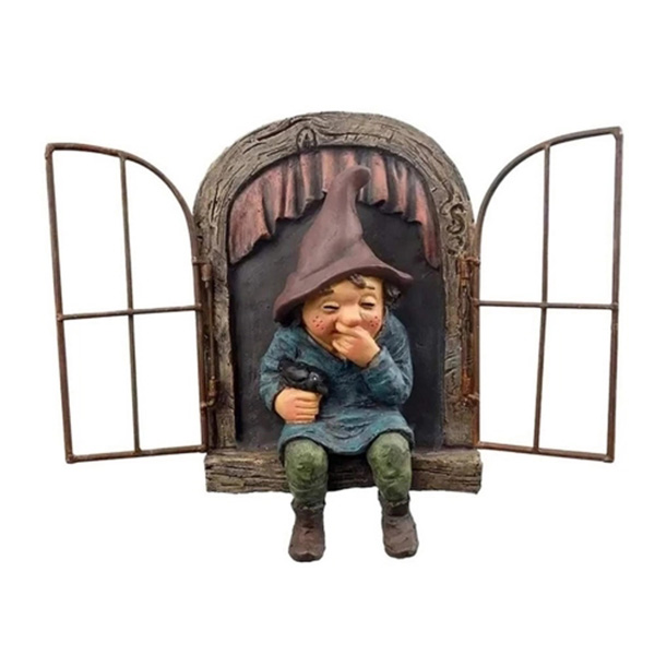 Snicker Boy Design Garden Character Statues Outdoor Funny Statue for Garden Decor Yard Lawn Ornaments - Multi-A
