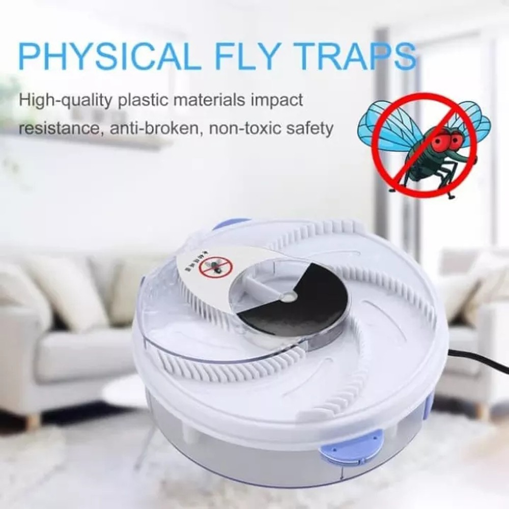 USB Automatic Flycatcher Household Electric Silent Rotary Fly Killer - White