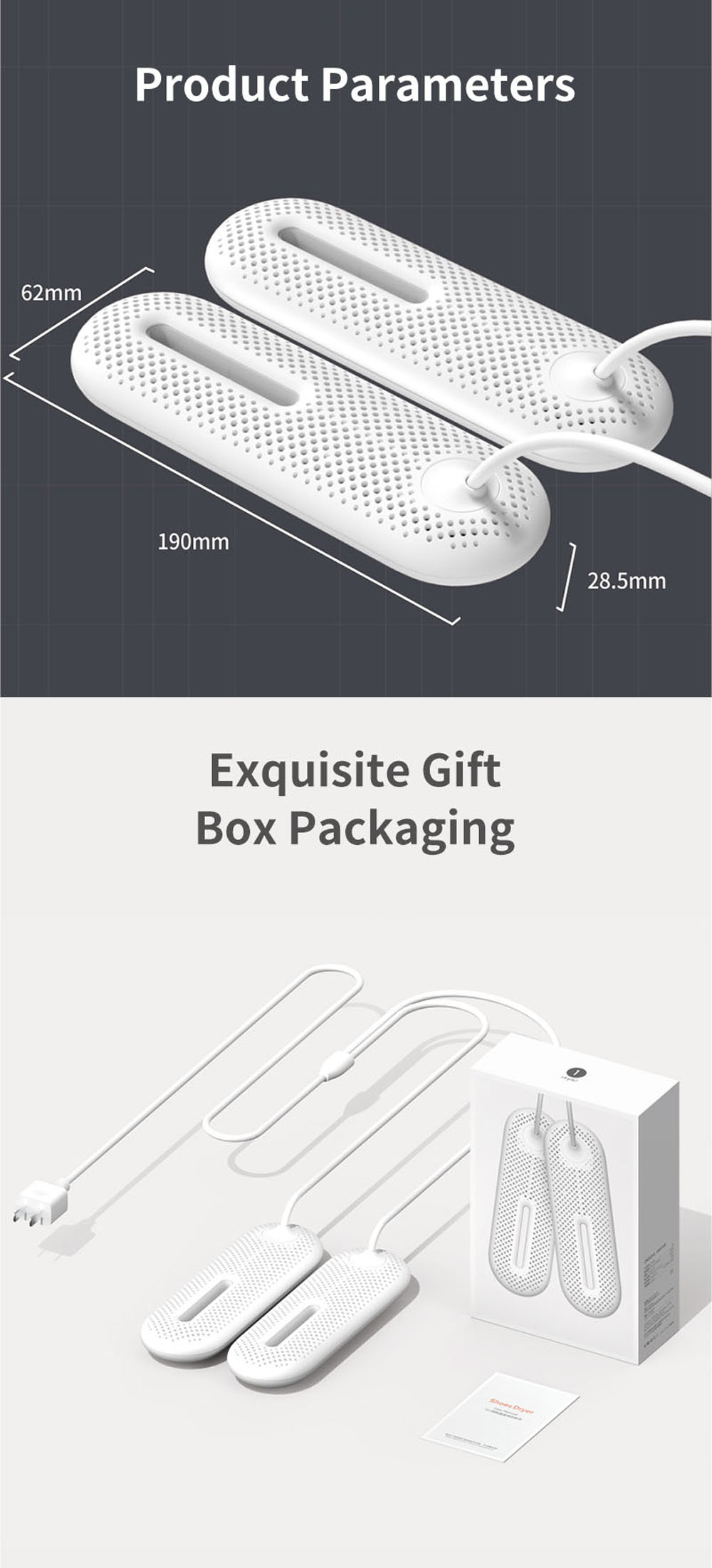 Household Shoe Dryer Smart Timing Sterilization Dehumidifier Dryer for Student Dormitory - White