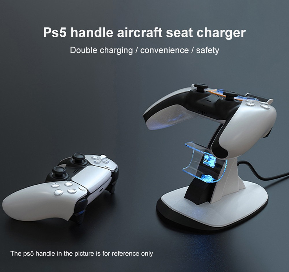 PS5 Gamepad Airplane Charging Dock Wireless Handle Controller Dual Charger with Blue Light Gamepad Charger Stand - White