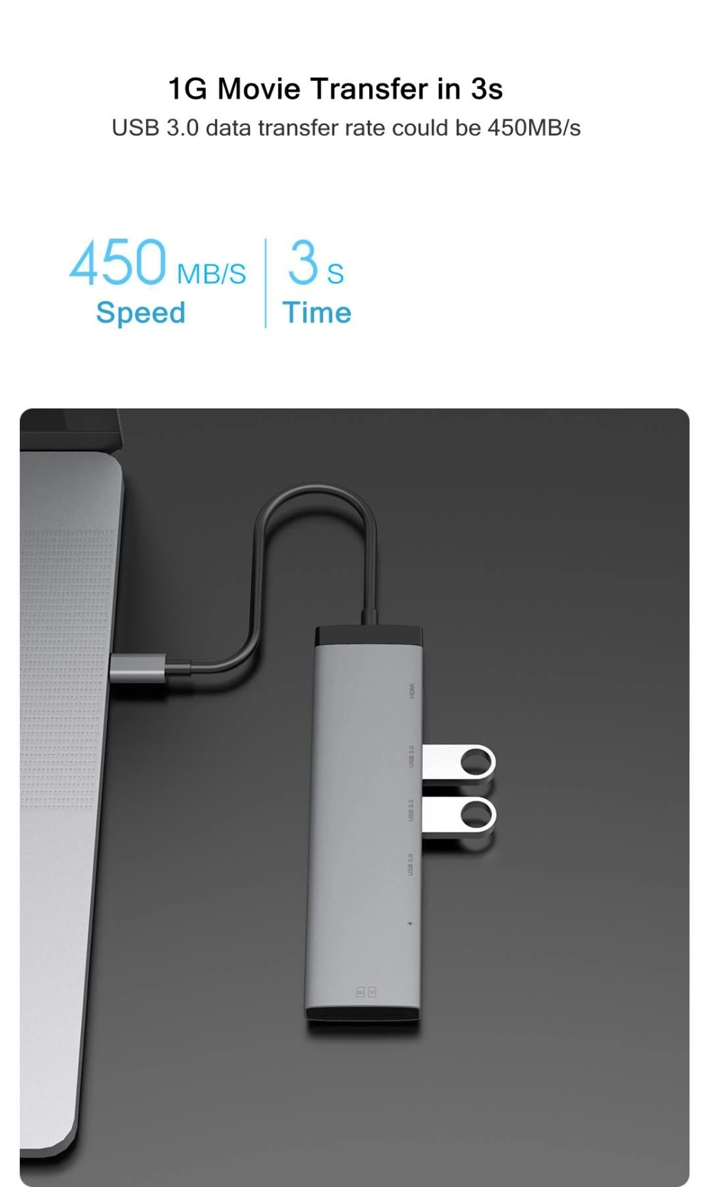 Miiiw MWCMA01 7-in-1 USB Type C Hub Docking Station Adapter with 4K HDMI HD Display / USB-C Power Delivery / USB 3.0 / SD / TF Card Reader - Dark Gray