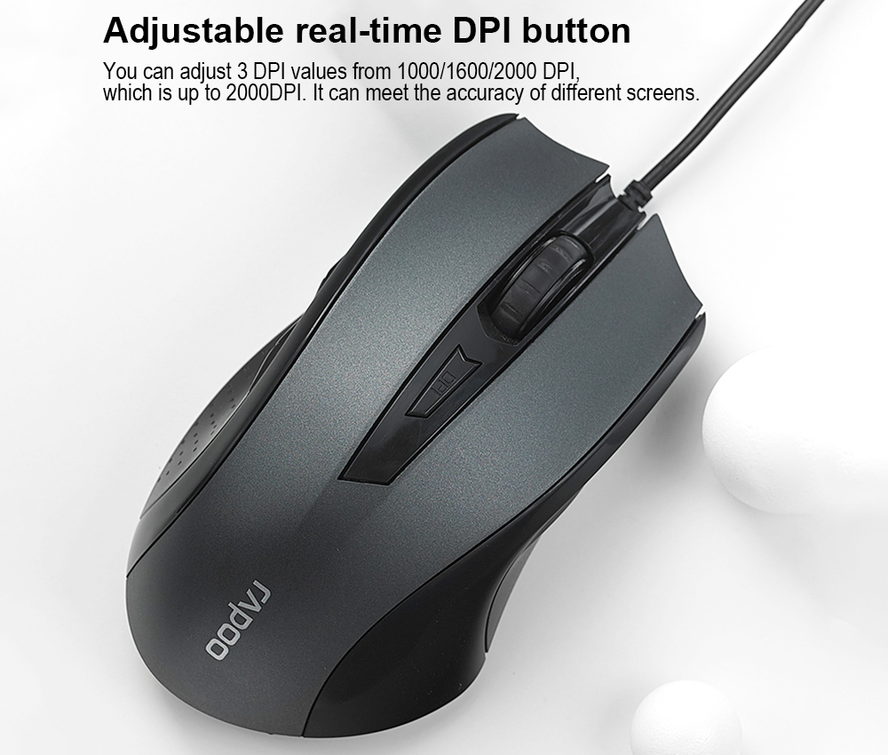 Rapoo N300 USB Wired Optical Gaming Mouse - Black
