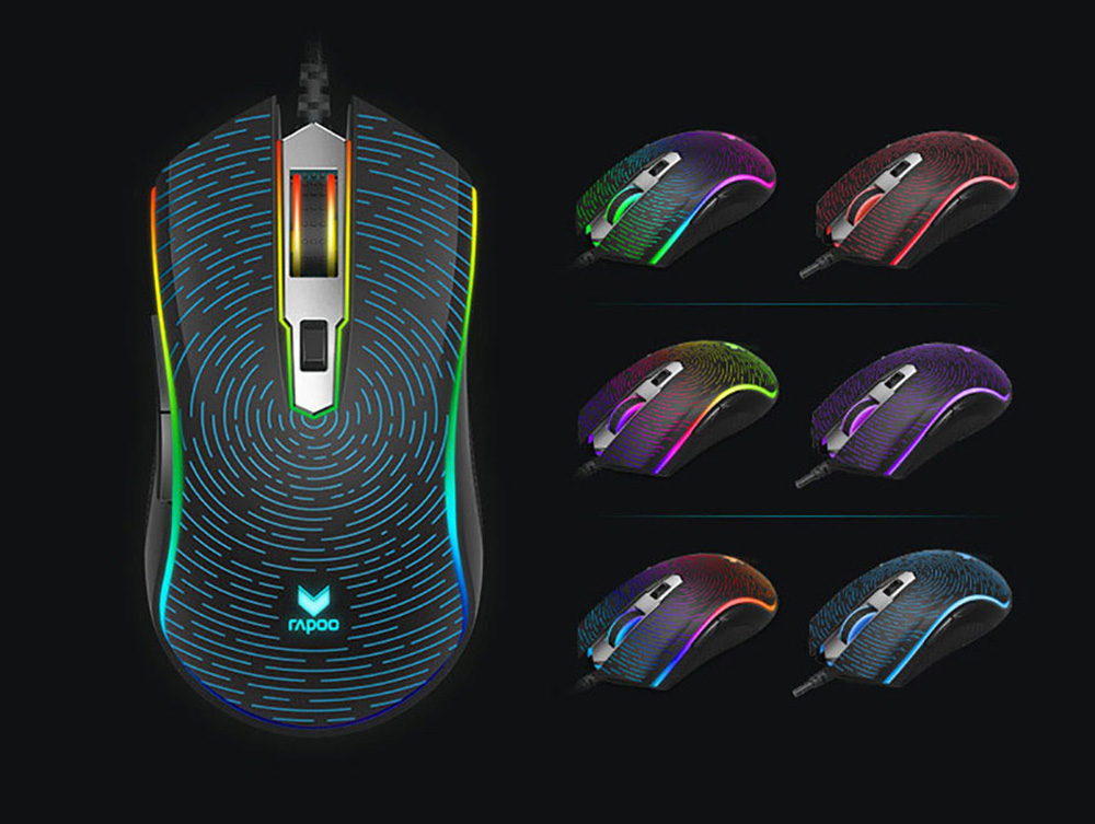 Rapoo V25S RGB USB Wired Gaming Mouse - Black